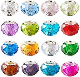 PandaHall 100 cuentas de cristal de Murano facetadas de 14 mm con agujero grande de cristal europeo con núcleo de color plateado para fabricación de joyas.
