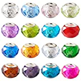 PandaHall 100 cuentas facetadas de cristal de Murano Lampwork de 14 mm de agujero grande cuentas de vidrio europeas con núcleo de color plateado para la fabricación de joyas