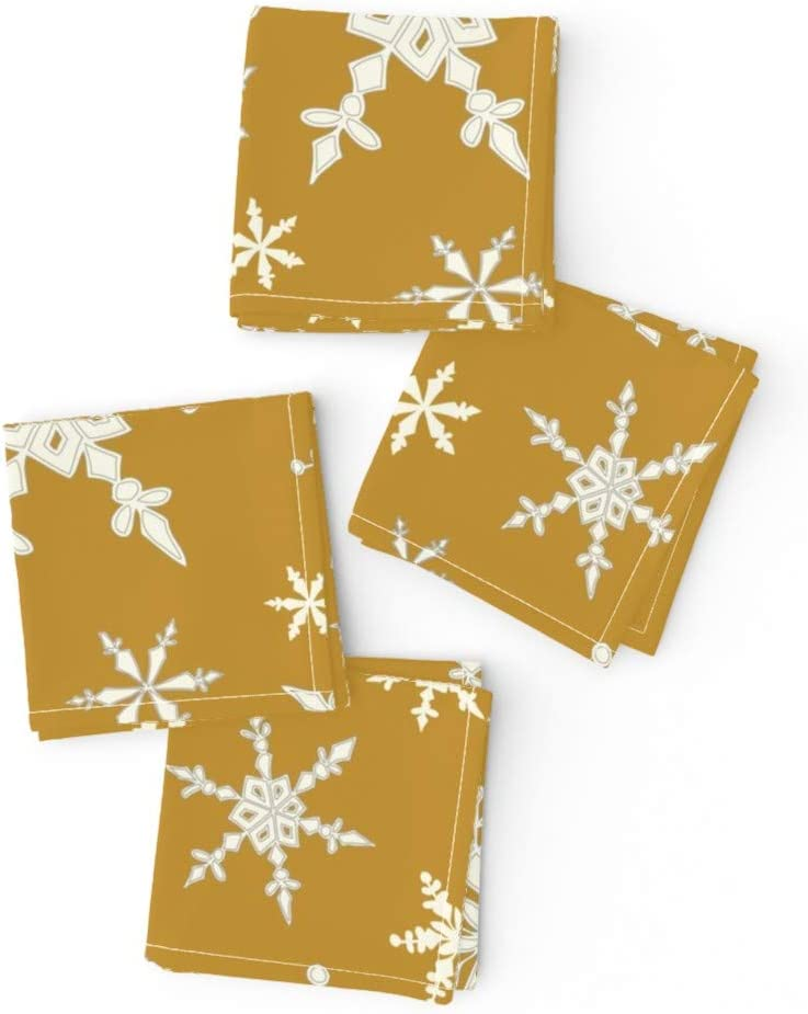 Roostery safety Cloth Cocktail Napkins Holidays Snow Winter Snowflakes Kansas City Mall