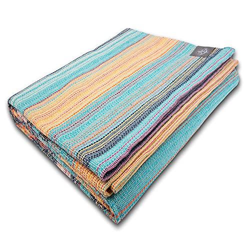 Craft Story Manta 'Yara', turquesa, azul, naranja y amarillo, colores pastel de 100% algodón, colcha para sofá, manta de picnic, manta útil y protectora, aprox. 170 x 220 cm