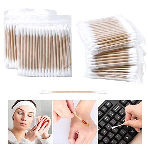 Lot de 500 Cotons-tiges avec manche en bois pour le maquillage Clean Care double tête Bâtons de maquillage