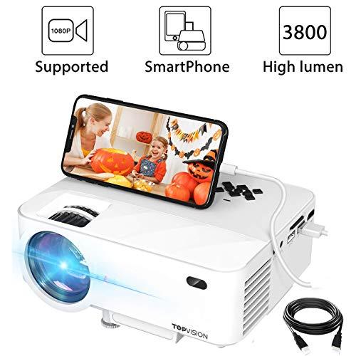 "Mini Beamer, 3800 Lumen TOPVISION Synchronize Smartphone Screen Video projektor, 1080P unterstützt, 176\"" Display, 50000 Stunden LED, kompatibel mit HDMI / USB / TV / DVD für Home Entertainment Office"