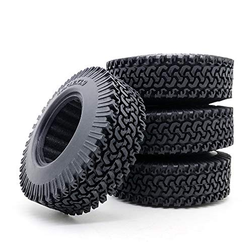 4pcs RC 01:10 orugas Beadlock Wheels 1,9 Pulgadas, Ruedas de Caucho de neumáticos 98mm neumático for Coches RC Tamiya camión axial SCX10