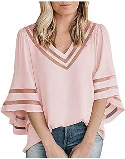 Women's Chiffon Tops Patchwork Mesh Solid Ruffles Loose Frenulum Pullover Ladies V-Neck Blouse