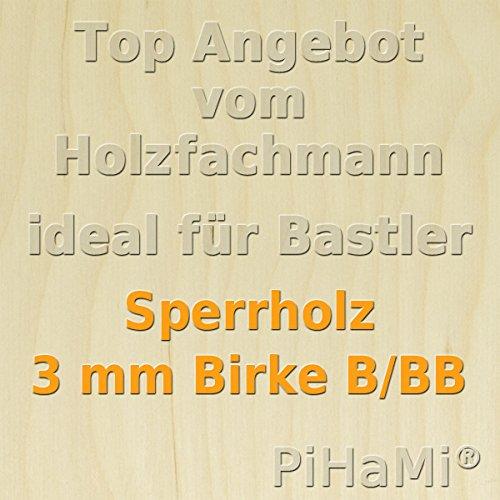 PiHaMi® 5 Platten 3 mm Birke Sperrholz Qualität B/BB (76 x 50cm) GP 12,55 € pro m²