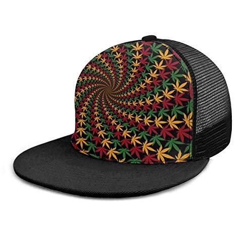 Gorra de béisbol Rasta Leaf Spiral Marihuana Weed Cannabis Impresión 3D Ajustable Snapback Hip Hop Gorras Sombrero de Malla Sombreros de Camionero