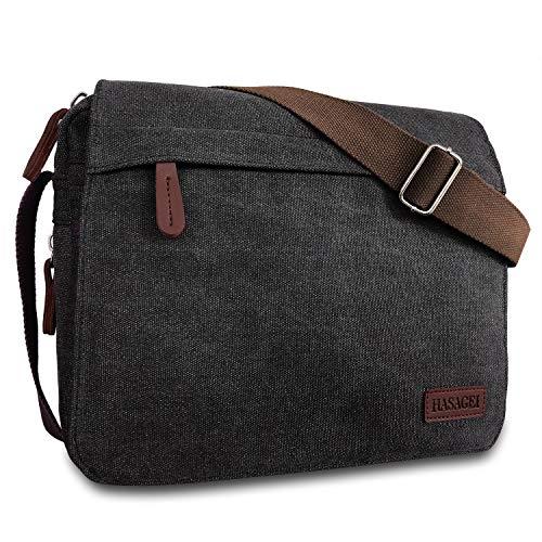 HASAGEI Mens Canvas Messenger Shoulder Bag Mens Messenger Bags Retro Canvas Crossbody Bag Laptop Bag Satchel Bag, Black-14inch, 11 inches H x 13.8 inches L x 3.5 inches W (28cm H x 35cm L x 9cm