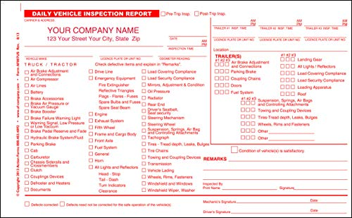 Daily Vehicle Inspection Report Detailed, 2 Copy Duplicate, Personalized (25 Books)