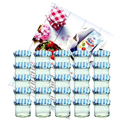 MamboCat Lot de 25bocaux – Goulot aussi large que le fond – Contenance de 125 ml – To 66 – Avec couvercle bleu à carreaux – Idéals pour confiture Livre de recettes de gelée de Diamant-Zucker (français non garanti)