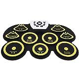 Batería electrónica, Roll Up Drum Practice Pad Midi Drum Kit con Drumstick Silicona USB Desktop Interesante Set G101 Pedals Drum Sticks(amarillo)
