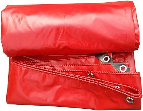 DLDL Couvertures de Feuille de Sol de bache de Tarpauline imperméables résistantes d'épaisseur Rouge pour Le Camion de Camping - 550G   M2 (Taille   3x4m)