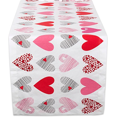 DII CAMZ37697 100% Cotton, Machine Washable, Printed Kitchen Table Runner For Mothers Day, Valentins Day and Everyday Use - 14x72, Hearts Collage