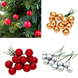 Gaddrt 12 Piezas árbol de Navidad decoración simulacion Cerezas Artificiales Navidad Colgante Decorativo, Rojo