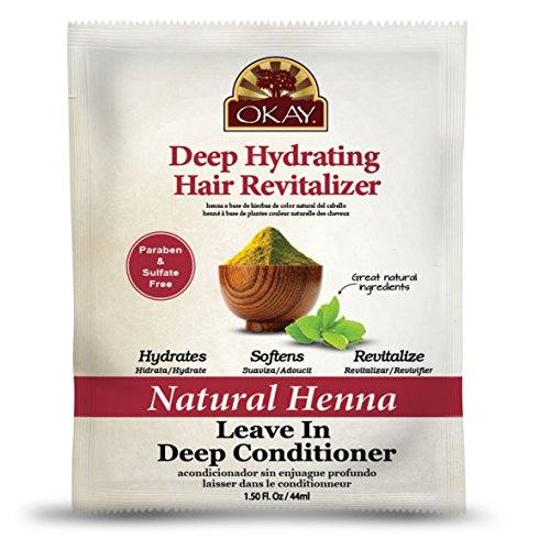 OKAY   Natural Henna Leave In Conditioner   For All Hair Types & Textures   Deep Hydrating Hair Revitalizer   With Natural Henna Extract   Free of Parabens, Silicones, Sulfates   1.5 oz