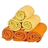 Family-Kollektion 6er Pack Mullwindeln bunt I hautfreundliches & angenehm weiches Schmuse-Tuch I Spucktücher Baby aus 100% Baumwolle I 6 Stück Baumwoll-Tücher 70 x 80 cm (Orange/Gelb)