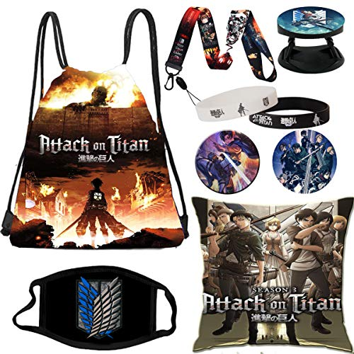 Attack On Titan Set Gift Set Bag 2pcs Blacelet 2pcs Button 1 Lanyard Phone Holder Face Mask Covers Pillow Case for Teens, Girls,Kids (Colorful)