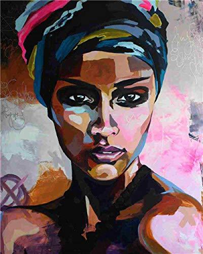 HUASUI Ölgemälde nach Zahlen African Women Paintings DIY Portrait Malen nach Zahlen Canvas Painting Kits 40x50cm Rahmen