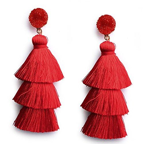Red Thread Tassel Earrings Statement Layered Fringe Chandelier Dangle Drop Earrings for Women Girls Stud Christmas New Year Costumed Jewelry Gift