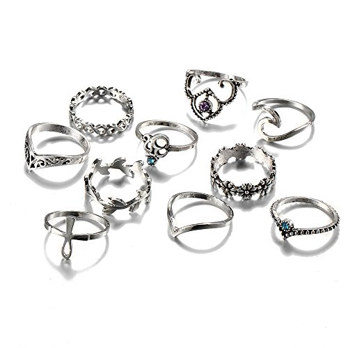 KENYG Women Jewellery 10 PCS Vintage Ancient Silver Ring Set Joint Ring Feet Ring Lady Girl Accessories