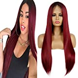 Life Diaries 10% Human Hair+90% Synthetic Fiber 13x3.5Inch Part Ombre Dark Roots Wine Red Lace Front...