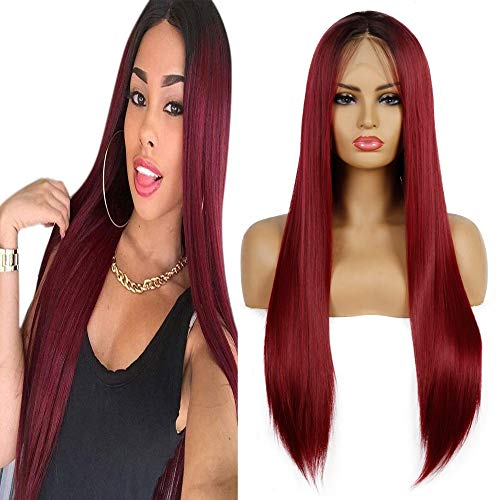 Life Diaries 10% Human Hair+90% Synthetic Fiber 13x3.5Inch Part Ombre Dark Roots Wine Red Lace Front Synthetic Wig Nature Straight Half Hand Tied Wigs Natural Hairline Heat Resistant Fibers For Women