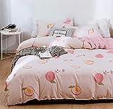 Xiongfeng Kids Duvet Cover Set Queen Size Girls Peach Fruit Printed Blush Pink Cute Bedding Set Reversible Mini Grid Plaid Soft Microfiber 3 Pcs Comforter Cover with Zipper Closure