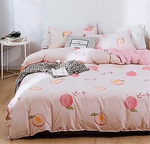 Xiongfeng Fruit Peach Printed Girls Duvet Cover Set Queen Blush Pink Reversible Kids Bedding Set...