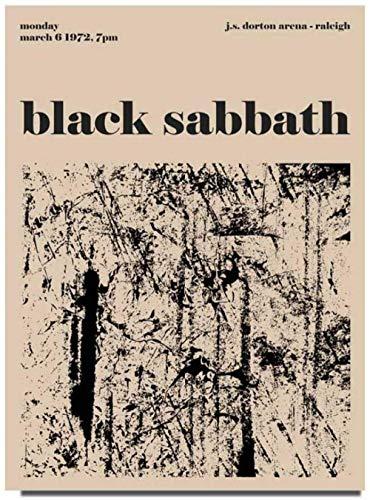 Pintura abstracta de la lona de la vendimia Black Sabbath Imagen del arte de la pared Línea blanca negra Impresión del cartel Imágenes de la galería Decoración interior del hogar 40x60cm Sin marco