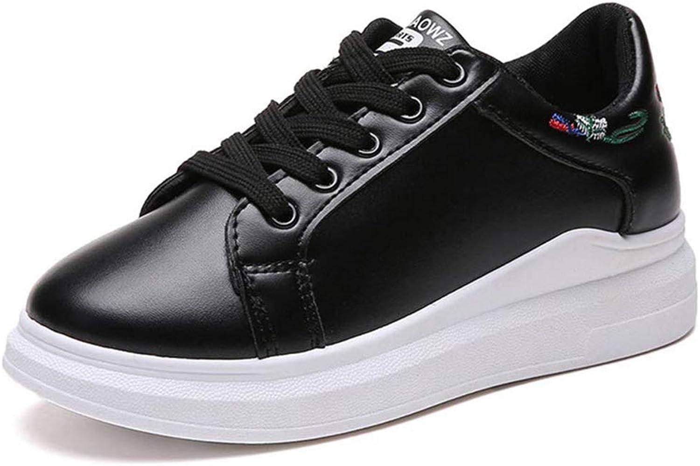 Wallhewb Women Fashion Platform Sneakers Femael White Casual Black shoes Soft Joker Wear Resistant Elegant Beautiful Fashionable Black 7.5 M US shoes