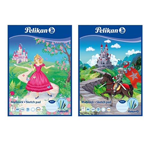 2x Pelikan Malblock/Zeichenblock / 100 Blatt/DIN A4 / 2 verschiedene Motive