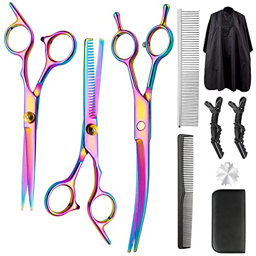 Professional Hair Cutting Scissors Set, 10Pcs Multicolor Haircut Scissors Thinning Shears Multi-Use with Dog Grooming Scissors Comb Perfect for Hair Stylist or Home Use for Women Men Kids Pet