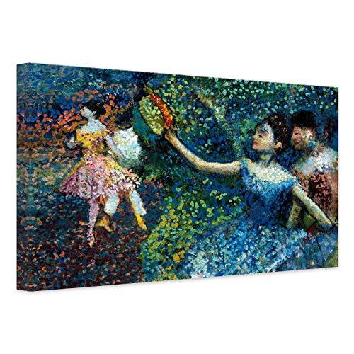 Lienzo Edgar Degas – bailarina con pandereta artística – Impresión artística pintada, Música, danza multicolor, Ballet con soporte de pared Wall Art, Multicolor, 100x80 cm
