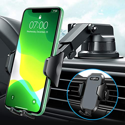 [2020 Upgraded] VANMASS Car Phone Mount [Super Suction Cup] Hands-Free Universal Phone Holder for Car Dashboard Windshield Air Vent, Compatible iPhone 11 Xs Max XR X 8 SE Samsung S20 S10, Dark Gray