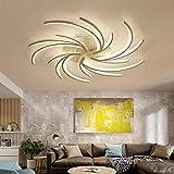 Iluminación de techo LED con control remoto Color de luz/brillo Lámpara colgante ajustable Pantalla Lámpara de techo con marco de metal lacado blanco Lámpara de diseño, 5 cabezas, luz cáli