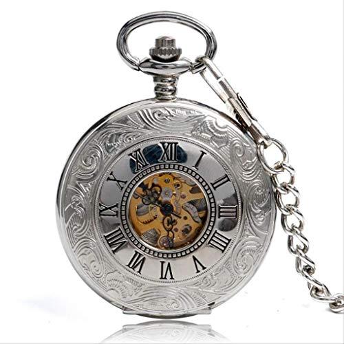 KUANDARGG Reloj De Bolsillo Exquisito Reloj De Bolsillo Mecánico De Mano De Viento Colgante De Plata con Colgante De Cuerda Steampunk Números Romanos, Silver