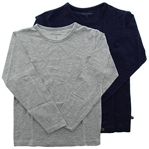 MINYMO Jungen Minymo 2er Pack T-shirt mit Langen Ärmeln fürJungen T Shirt, Mehrfarbig (Dark Navy/Grau 778), 116 EU
