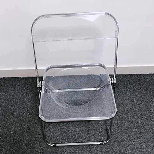 N/A Transparent Plastic Chair PC Folding Zurück-Konferenz Training Feierliche Veranstaltung Freizeit-Stuhl (Color : Clear, Size : 75x46.5cm)