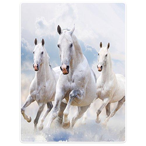 YISUMEI Decke 150x200 cm Kuscheldecken Sanft Flanell Weich Fleecedecke Bettüberwurf Weiß Pferd Laufendes