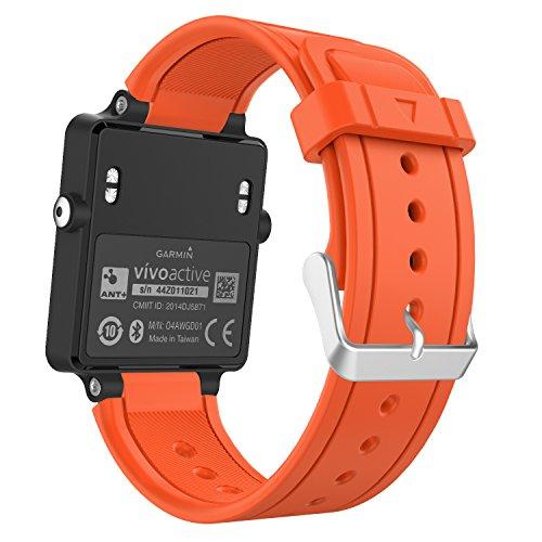 MoKo Garmin Vivoactive Correa de Reloj, Suave Silicona Reemplazo Watch Band para Garmin Vivoactive/Vivoactive Acetate Sports GPS Smartwatch - Naranja