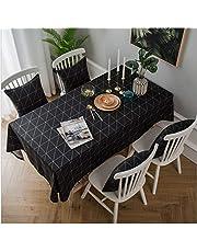 GuangDe Mantel Minimalista Moderno Mantel geométrico en Blanco y Negro Algodón Lino Escritorio de Arte Cubierta Decorativa Mesa Cocina Restaurante Mantel-140X140Cm
