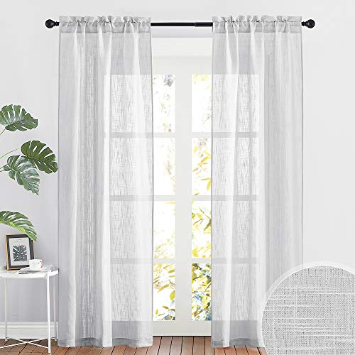 RYB HOME Semi Sheer Curtains Linen Textured Fabric Light and Airy Half Privacy Window Drapes for Bedroom Dining Living Room Office, Dove Grey, 34 inch Wide x 84 inch Long, 2 Panels