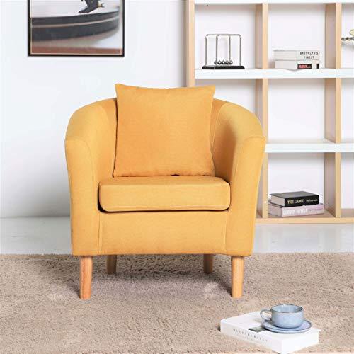 York - Sillón de tela para salón, oficina, recepción, color amarillo