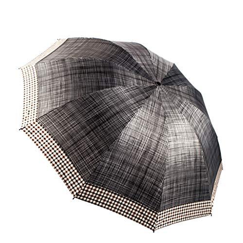Tingting1992 Paraguas Plegable a Cuadros británico Paraguas Anti-UV Paraguas Manual de Negocios (Color : Gray)