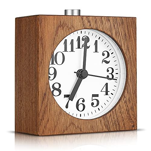 Analog Holz Wecker, Wecker Analoger mit Snooze und Licht, Retro Glockenwecker, Kein Ticken Geräuschlos Nachttisch Wecker für Schlafzimmer, Zuhause, Und Büro