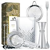 Homestia Cocktail-Set mit Cocktailgläsern, 4 Stück: 24,5 Unzen dickes Rührglas, Hawthorne Cocktailsieb, Doppel-Messbecher, Barlöffel, Silber M Silver