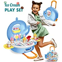 MOBIUS Toys 27pcs Ice Cream Parlor Pretend Play Food Set for Kids