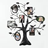 Adeco 7 Openings Decorative Black Metal Family Tree Picture Photo Frame - Made to Display Three 4x6 (Oval) and Four 4x6 (Rectangle)