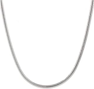 Sterling Silver 1.5MM 2MM Italian Solid Round Snake Chain Necklace-Sterling Silver Chain for Pendants, Magic Flexible Snake Chain (18-30)