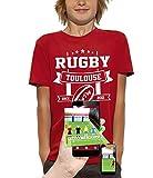PIXEL EVOLUTION T-Shirt 3D Rugby Toulouse en Réalité Augmentée Enfant - Taille 12/14 Ans - Rouge