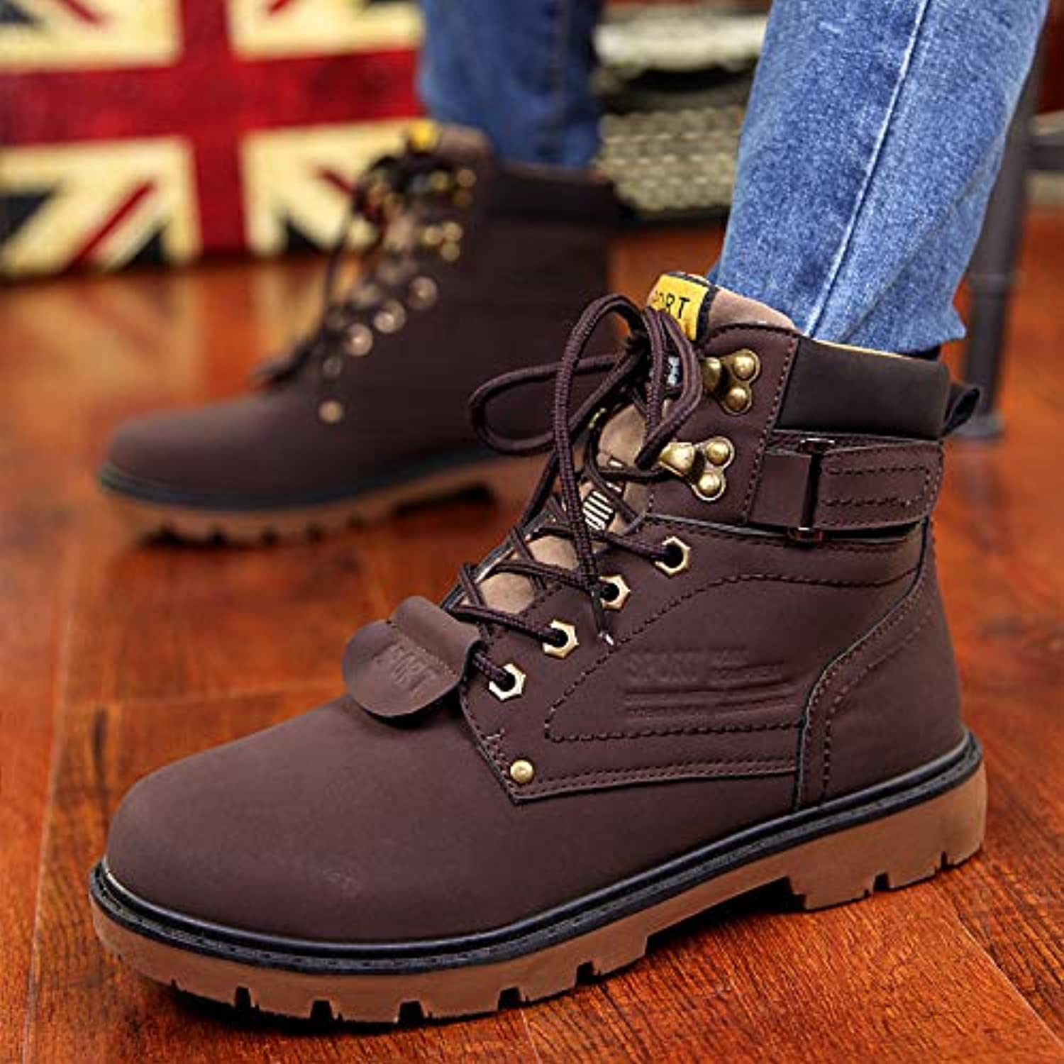VXCZFS Outdoor boots Martin Boots Men'S Boots British Wind High shoes Men'S Tide Boots In The Winter Boots Plus Velvet, 43, Brown Cotton Boots